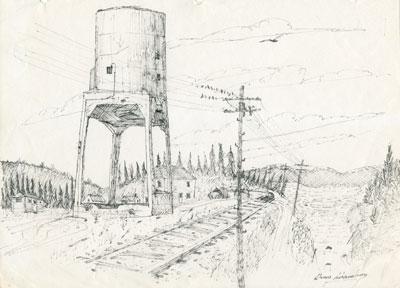 Pencil Sketch of Coal Chute Beside Railroad Tracks, 1978