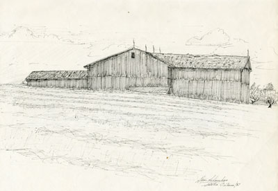 Pencil Sketch of a Large Wooden Barn, 1978
