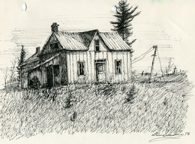 Pencil Sketch of an Abandoned House, 1978