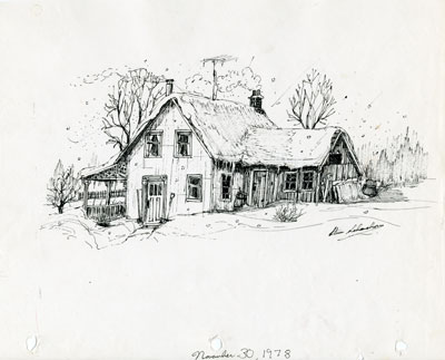 Pencil Sketch of a Snow-Covered Home, 1978