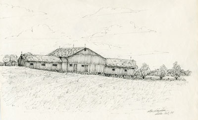 Pencil Sketch of a Large Wooden Barn, 1977
