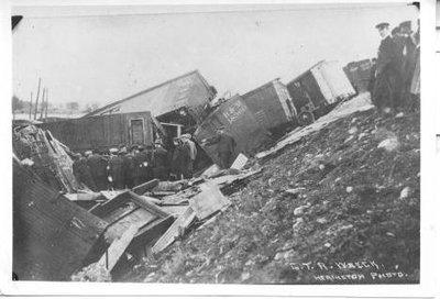 Grand Trunk Railway Wreck, Trenton, Ontario, circa 1910 - 1920