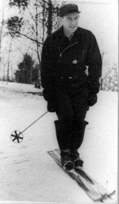 Photograph of James Langstaff on skis