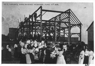 Barn-raising on the farm of T. Thompson