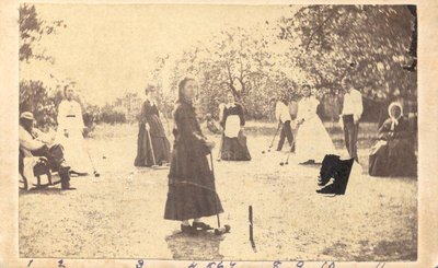 Playing croquet on the Atkinson lawn