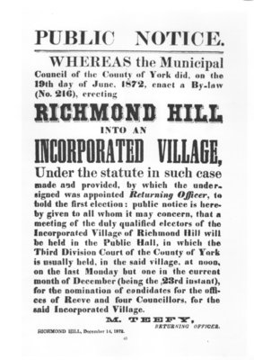 Notice announcing incorporation of Richmond Hill