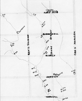 Map of early mills in Richmond Hill and Vaughan district