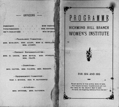 Programme of Richmond Hill Branch of Women's Institute (1914-15)