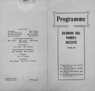 Programme of Richmond Hill Branch of Women's Institute (1918-19)
