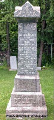 John Coulter's gravestone