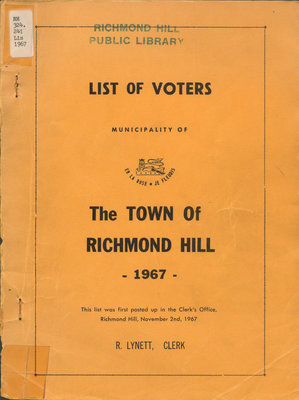 List of Voters of the Town of Richmond Hill (1967)