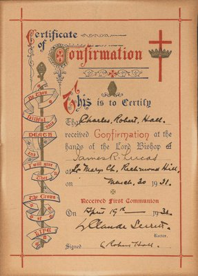 Certificate of Confirmation of Charles Robert Hall