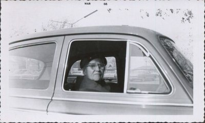 Photograph of Sarah Elizabeth Hall in the car