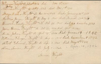 Genealogical note of Wright family