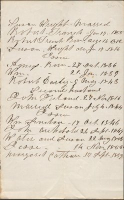 Genealogical note concerning members of the Wright family