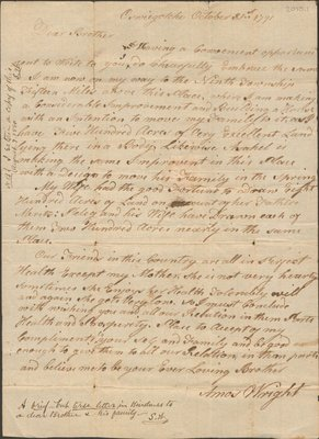 Letter of Amos Wright to Abraham Wright