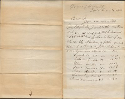 Genealogical note of a relative of Amos Wright
