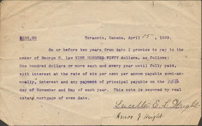 Promise to pay of Lucella E. L. Wright
