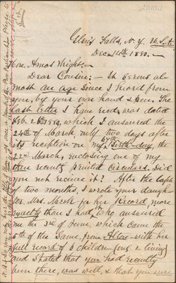 Letter of Rev. Stephen Wright to Amos Wright