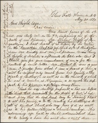 Letter of S. Wright to Amos Wright