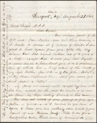 Letter of Stephen Wright to Amos Wright
