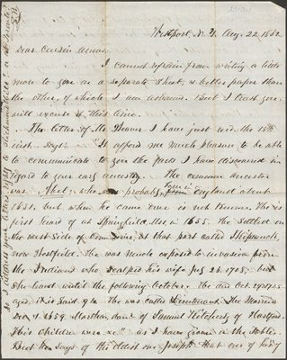Letter of S. Wright from Westport, NY