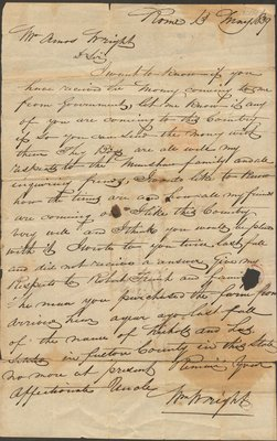 Letter of Wm. Wright to Amos Wright