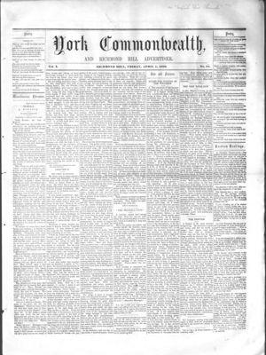 York Commonwealth, 1 Apr 1859