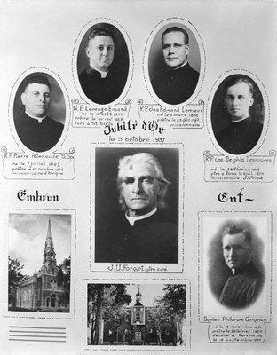 Le curé  Jean-Urgel Forget, entouré de quelques prêtres originaires de la paroisse d'Embrun.