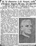 Article de journal sur le décès de M. le chanoine J.-U. Forget, curé d'Embrun depuis 50 ans.