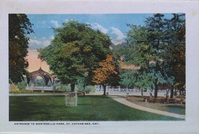 Souvenir Folder of St. Catharines: Entrance to Montebello Park