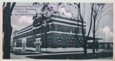 Souvenir of St. Catharines Postcards: Canadian National Electric Railway Terminal
