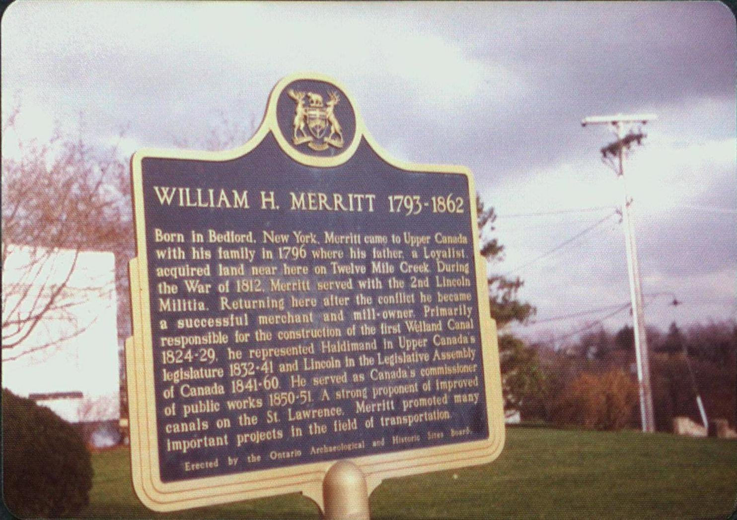 William Hamilton Merritt Historical Plaque