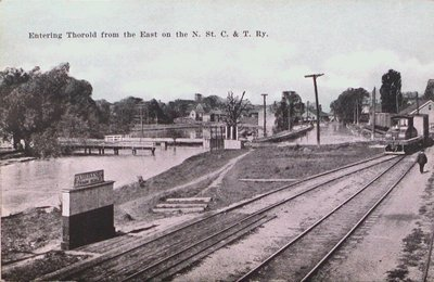 Entering Thorold on the Niagara, St. Catharines & Toronto Railway.