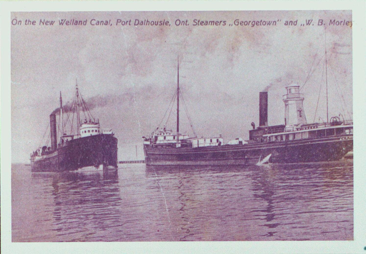"The Steamers ""Georgetown"" and ""W.B. Morley"" on the New Welland Canal"