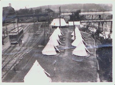 Tents & Railroad tracks near the Lower Bridge or Whirlpool Rapids Bridge