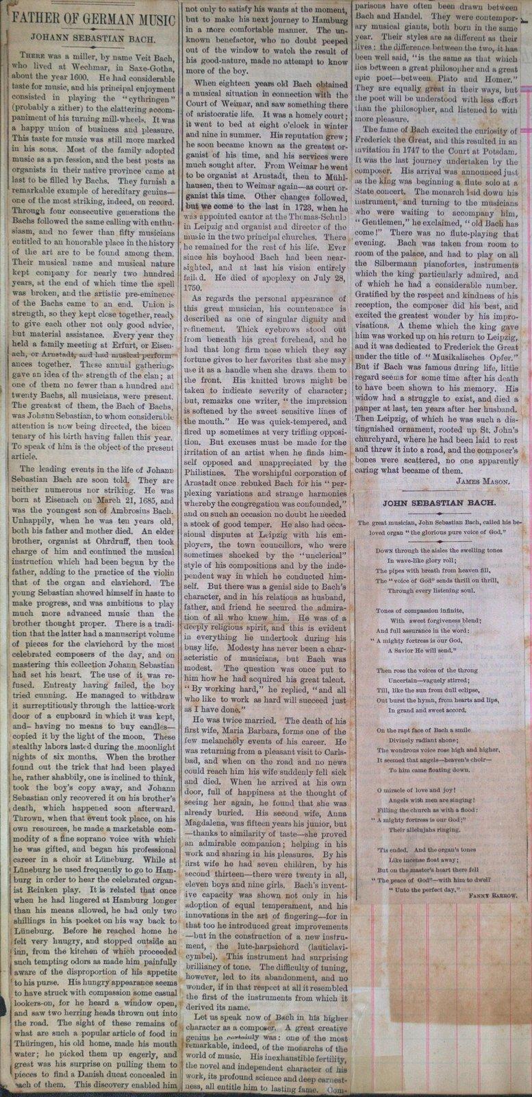 Teresa Vanderburgh's Musical Scrapbook #1 - Newspaper Clippings: Johann Sebastian Bach