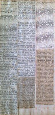 Teresa Vanderburgh's Musical Scrapbook #1 - Newspaper Clippings about Handel and Mozart