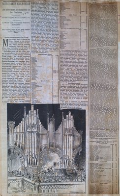 Teresa Vanderburgh's Musical Scrapbook #1 - Newspaper Clippings: Notre Dame's Noble Organ & St. James Cathedral Organ