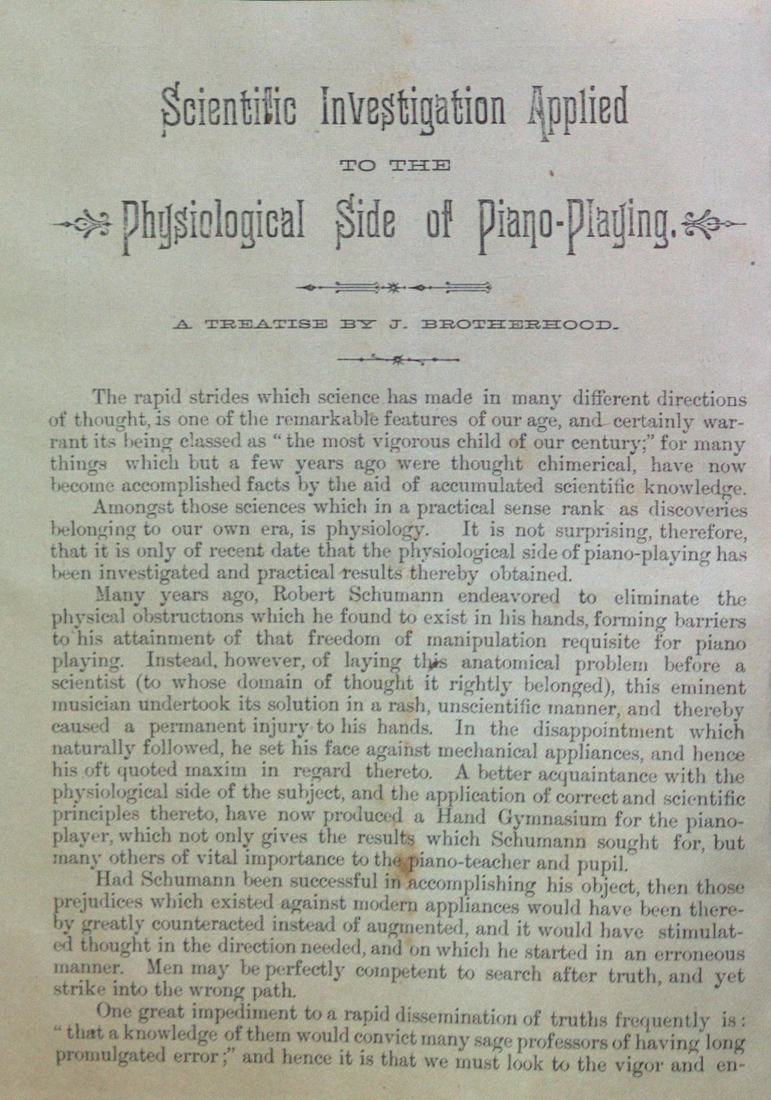 Teresa Vanderburgh's Musical Scrapbook #1 - Pamphlet: Anatomical Details Involved in Piano-Playing