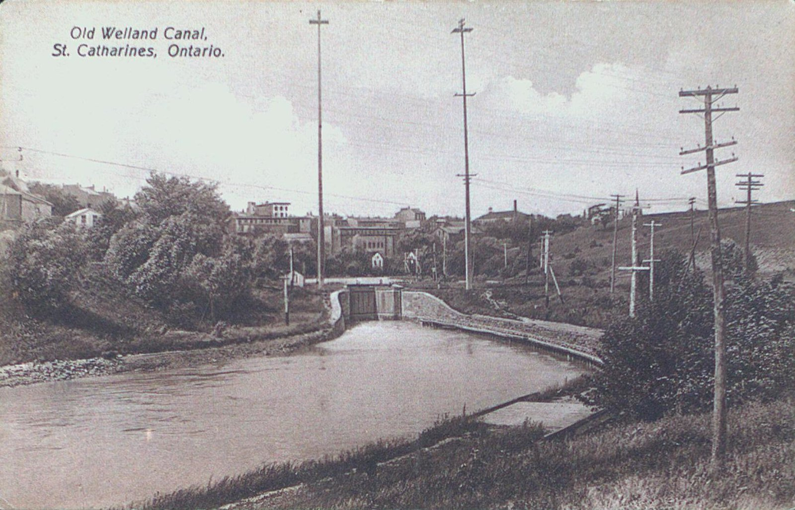 The Two Tallest Cement Poles and Lock 3 of the Old Canal