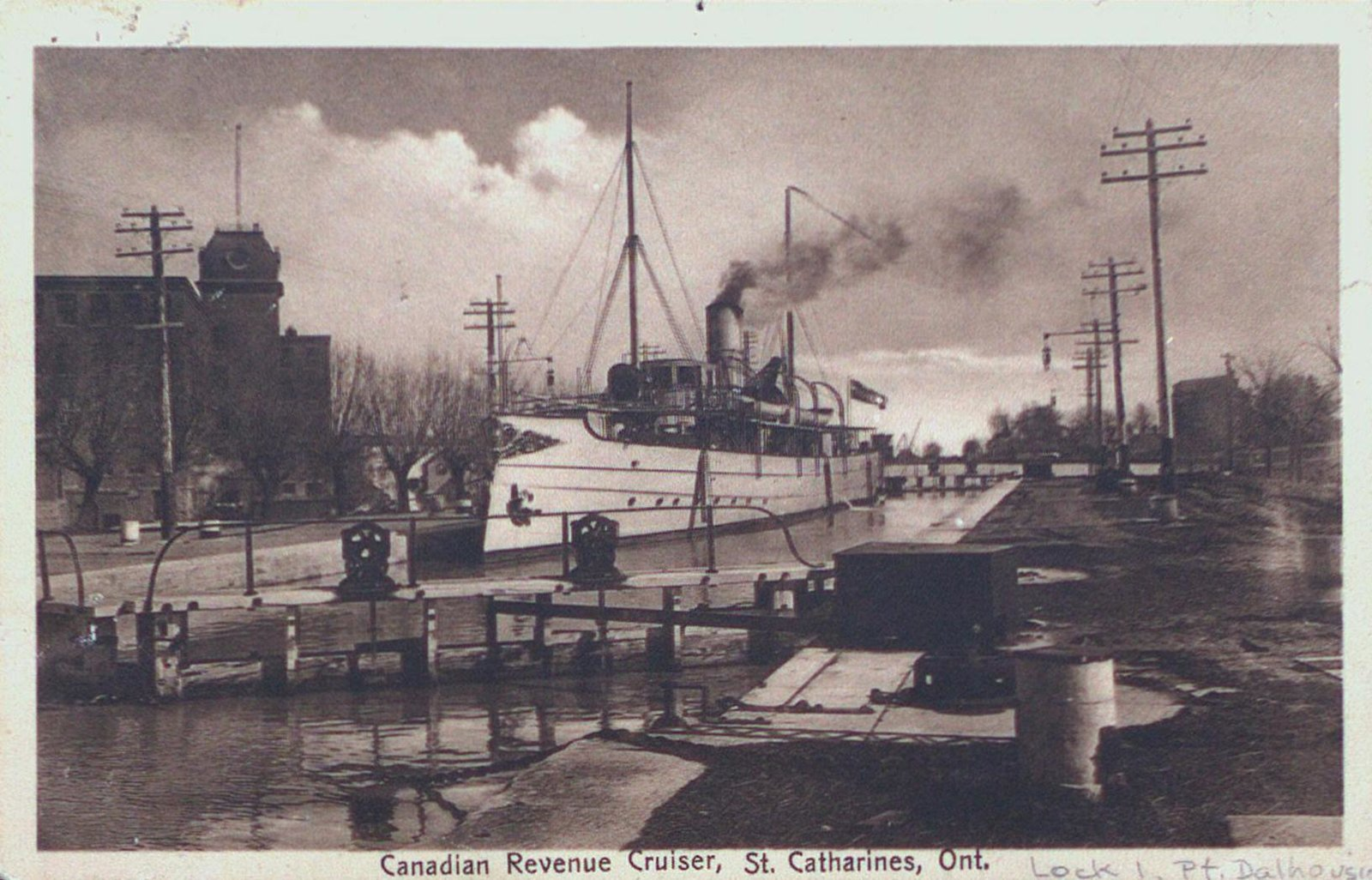 Canadian Revenue Cruiser at Lock 1 of the Third Welland Canal, Port Dalhousie