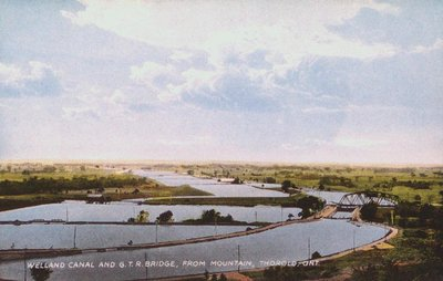 The Welland Canal and the Grand Trunk Railway Bridge from the Mountain, Thorold