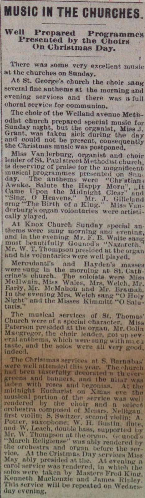Teresa Vanderburgh's Musical Scrapbook #1 - Music in the Churches on Christmas Day