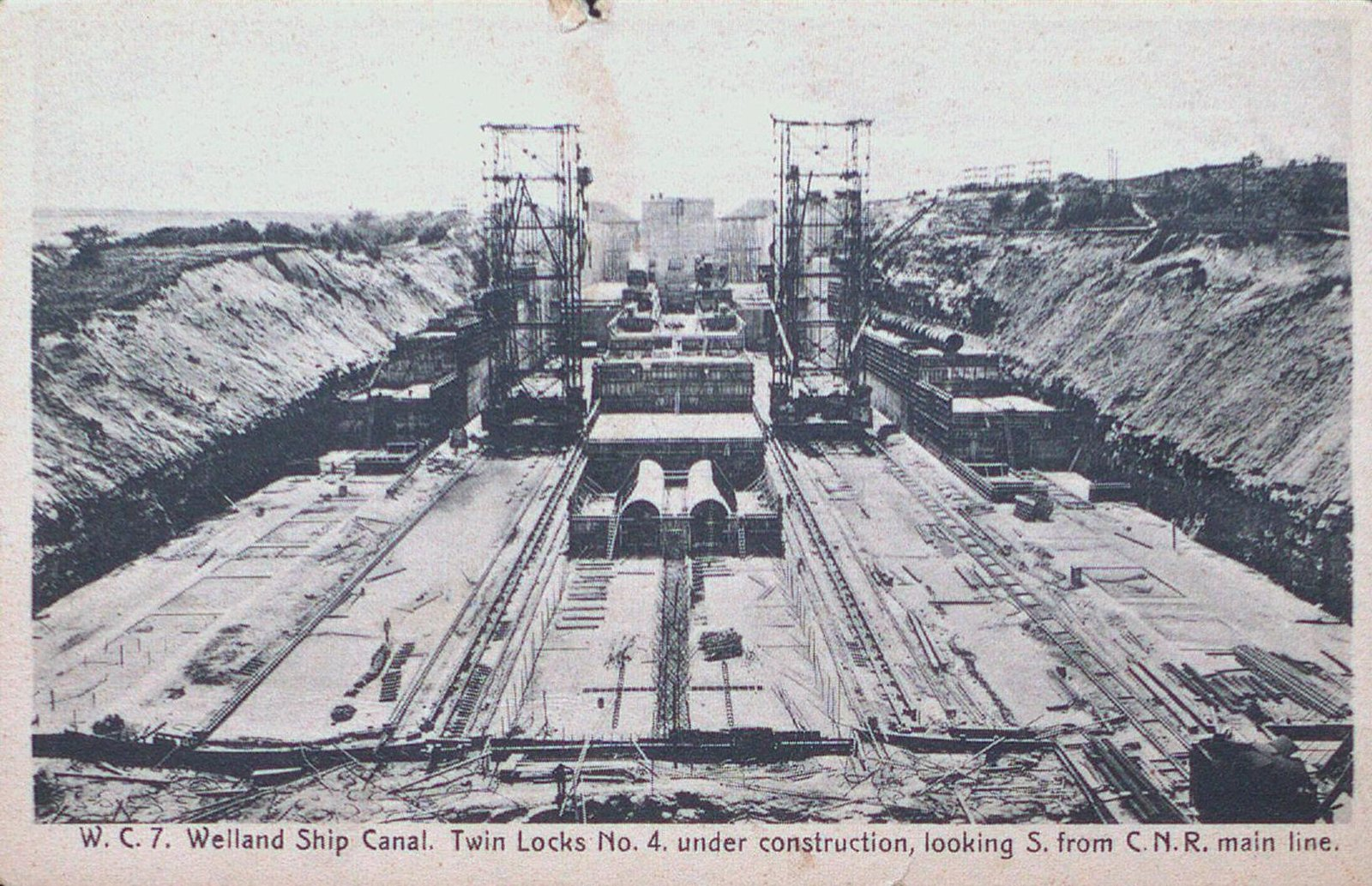 Twin Locks Under Construction on the Fourth Welland Canal