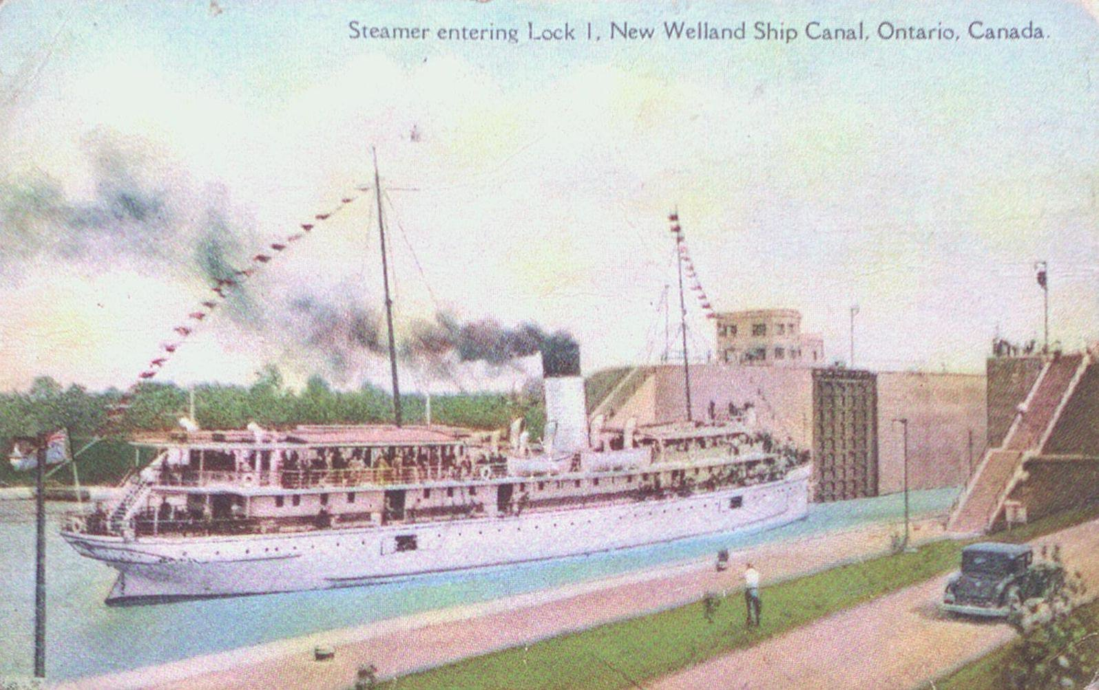A Steamer Entering Lock One on the Welland Ship Canal
