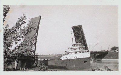 "The ""Lemoyne"" Passing Through the Homer Bridge"