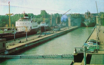 The Twin Flight Locks on the Welland Ship Canal