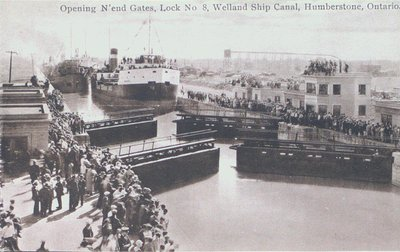 Opening North end Gates - Lock Eight - on the Welland Ship Canal