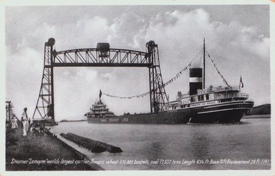 Steamer Lemoyne Passing Underneath the Lift Bridge at Port Robinson on the Welland Ship Canal